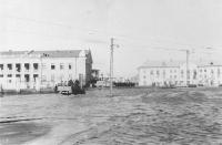 Площадь Гагарина (Строителей). Наводнение весной 1957 года.