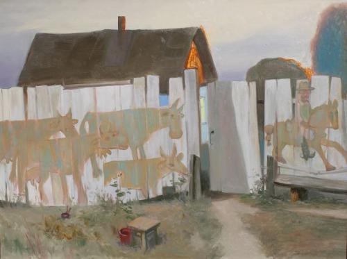 Дом безработного пастуха (орг.м., 60х80 см., октябрь 2015 г.)